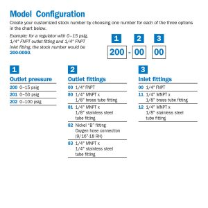 200-0000 High Purity Analytical Single Stage Brass Line Regulator, 15 psig